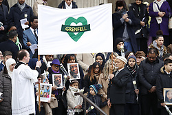 © Licensed to London News Pictures. 14/12/2017. London, UK. Departures from St Paul's Cathedral after the Grenfell Tower National Memorial Service to mark the six month anniversary of the Grenfell Tower fire. The service is attended by survivors and relatives of those who lost their lives in the fire, as well as members of the emergency services and members of the Royal family. 71 people were killed when a huge fire ripped though 24-storey Grenfell Tower block in west London in June 2017. Photo credit: Peter Macdiarmid/LNP