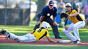 Joliet West baserunner Ty Rosado dives safely back to first base as OFallon first baseman Corey Quintal waits on the throw. OFallon played Joliet West in a Class 4A baseball sectional championship game at Blazier Field in OFallon, IL on Friday June 11, 2021. Tim Vizer/Special to STLhighschoolsports.com.