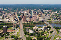 Aerial of Connecticut River andFounder's and Bulkeley Bridges entering downtown Hartford, CT, from East Hartford.