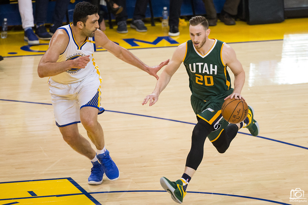 Utah Jazz forward Gordon Hayward (20) attacks the basket against Golden State Warriors center Zaza Pachulia (27) during Game 1 of the Western Conference Semifinals at Oracle Arena in Oakland, Calif., on May 2, 2017. (Stan Olszewski/Special to S.F. Examiner)