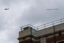 A Ladbrokes plane dragging a banner with the odds on a girl or a boy flies over the Lindo Wing at St Mary's hospital, Paddington, where the Duchess of Cambridge is in labour expecting the birth of her third child. London, April 23 2018.