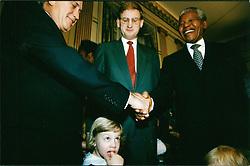Dec. 12, 1993 - Sweden - From left, South African President FREDERIK WILLEM DE KLERK, Sweden Prime Minister CARL BILDT, and NELSON MANDELA. DeKlerk and Mandela received the Nobel Peace Prize, which they then share. (Credit Image: © Aftonbladet/IBL/ZUMAPRESS.com)