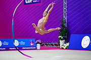Pigniczki Fanni during the qualification of ribbon at the Pesaro World Cup 2018. She was born in Budapest Hungary in 2000.