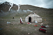 The Khan's summer yurt..Daily life at the Khan (chief) summer camp of Kara Jylga...Trekking through the high altitude plateau of the Little Pamir mountains (average 4200 meters) , where the Afghan Kyrgyz community live all year, on the borders of China, Tajikistan and Pakistan.