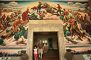 Entrance lobby showcases Thomas Hart Benton mural depicting Missouri pioneers and Indians in frontier years; Harry S. Truman Presidential Library and Museum, Independence, Missouri.