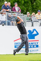 June 22, 2018 - Madison, WI, U.S. - MADISON, WI - JUNE 22: Esteban Toledo tees off on the first tee during the American Family Insurance Championship Champions Tour golf tournament on June 22, 2018 at University Ridge Golf Course in Madison, WI. (Photo by Lawrence Iles/Icon Sportswire) (Credit Image: © Lawrence Iles/Icon SMI via ZUMA Press)