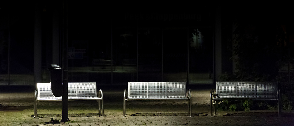 Empty benches in Lubeck, Germany