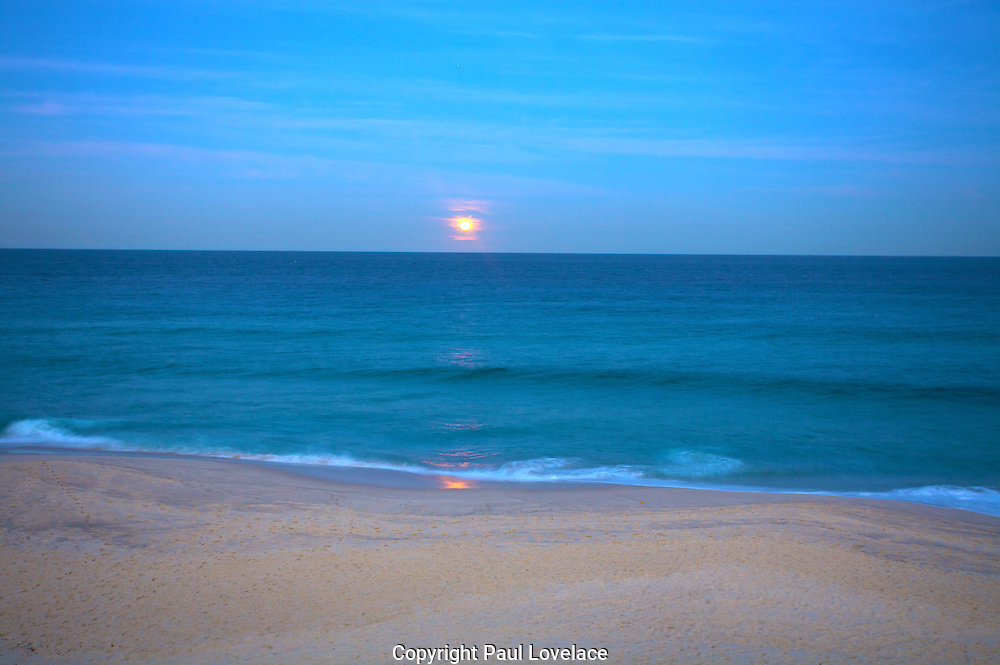 Moonrise over Bronte Beach, Sydney, Australia. .Bronte is located 8 kilometres east of the Sydney central business district.