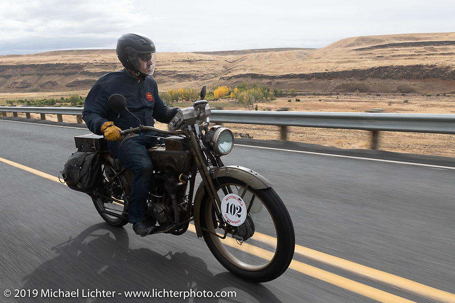 Ciro Nisi's riding his Harley-Davidson Model F that came all the way from Italy for the Motorcycle Cannonball coast to coast vintage run. Stage 14 (303 miles) from Spokane, WA to The Dalles, OR. Saturday September 22, 2018. Photography ©2018 Michael Lichter.