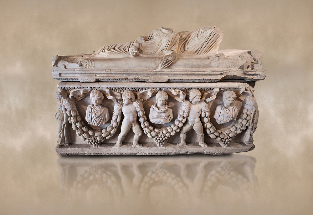 Roman relief garland  sculpted sarcophagus, style typical of Pamphylia, 3rd Century AD, Konya Archaeological Museum, Turkey. Against a warm art background. .<br /> <br /> If you prefer to buy from our ALAMY STOCK LIBRARY page at https://www.alamy.com/portfolio/paul-williams-funkystock/greco-roman-sculptures.html . Type -    Konya     - into LOWER SEARCH WITHIN GALLERY box - Refine search by adding a subject, place, background colour, museum etc.<br /> <br /> Visit our ROMAN WORLD PHOTO COLLECTIONS for more photos to download or buy as wall art prints https://funkystock.photoshelter.com/gallery-collection/The-Romans-Art-Artefacts-Antiquities-Historic-Sites-Pictures-Images/C0000r2uLJJo9_s0