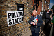 Voter from the more traditional white working class community, at a Polling Station in Whitechapel, in the East End of London. General Election Day May 6th 2010.