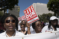 March 23, 2017 - Los Angeles, California, United States - Supporters of the Affordable Care Act participate in a ''Save Obamacare'' rally in Los Angeles, California on March 23, 2017. (Credit Image: © Ronen Tivony/NurPhoto via ZUMA Press)