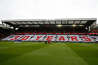 Football - 2018 / 2019 Premier League - Liverpool vs. Chelsea<br /> <br /> Liverpool fans in the Sir Kenny Dalglish stand hold up a mosaic in memory of the victims of the Hillsborough disaster , at Anfield.<br /> <br /> COLORSPORT/PAUL GREENWOOD