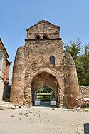Picture & image of the medieval fortified gate to the Cathedral Of Transfiguration, Medieval Georgian Orthodox, 7-9th century,  Ruisi, Georgia.<br /> <br /> A typical Georgian cruciform & cupola church Ruisi Cathedral Of Transfiguration was built by King Vakhtang Gorgasali in a typical 7th century style. .<br /> <br /> Visit our MEDIEVAL PHOTO COLLECTIONS for more   photos  to download or buy as prints https://funkystock.photoshelter.com/gallery-collection/Medieval-Middle-Ages-Historic-Places-Arcaeological-Sites-Pictures-Images-of/C0000B5ZA54_WD0s<br /> <br /> Visit our REPUBLIC of GEORGIA HISTORIC PLACES PHOTO COLLECTIONS for more photos to browse, download or buy as wall art prints https://funkystock.photoshelter.com/gallery-collection/Pictures-Images-of-Georgia-Country-Historic-Landmark-Places-Museum-Antiquities/C0000c1oD9eVkh9c