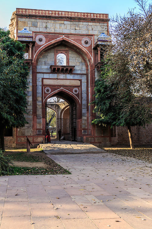 Arab Serai Gate at Humayun's Tomb in New Delhi, India. Arab Serai Gate led to the walled enclosure which hosted the Persian craftsmen who came to work on Humayun's Tomb.