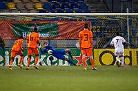 WAALWIJK - Jong Oranje - Jong Noorwegen, oefeninterland, Mandemakers stadion, 25-03-2013, voetbal, seizoen 2012-2013. Jong Oranje doelman Jeroen Zoet stopt penalty.