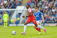 Fleetwood Town Defender, Amari'i Bell (3) gets away from Portsmouth Forward, Conor Chaplin (19)during the EFL Sky Bet League 1 match between Portsmouth and Fleetwood Town at Fratton Park, Portsmouth, England on 16 September 2017. Photo by Adam Rivers.