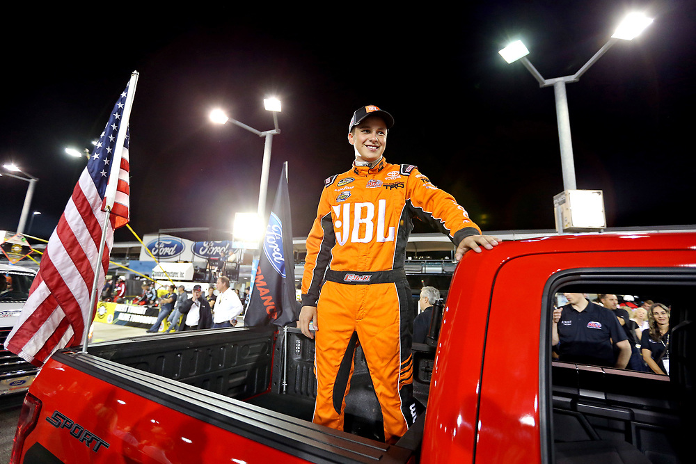 Nov 18, 2016; Homestead, FL, USA; NASCAR Camping World Truck Series driver Christopher Bell (4) before the Ford Ecoboost 200 at Homestead-Miami Speedway. Mandatory Credit: Peter Casey-USA TODAY Sports