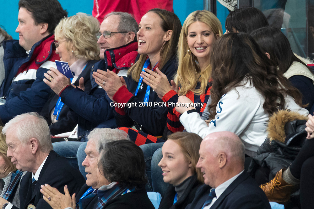 Ivanka Trump watching the Team USA vs Team Sweden competing in the Curling Gold Medal Game at the Olympic Winter Games PyeongChang 2018
