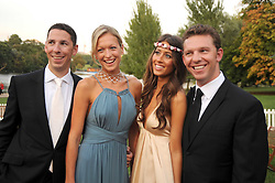 Left to right, CHRISTIAN CANDY, EMILY CROMPTON, YAEL TORM-HIBLER and NICK CANDY at the Royal Parks Foundation Summer Party hosted by Candy & Candy on the banks of the Serpentine, Hyde Park, London on 10th September 2008.
