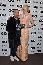 JAMES LONG and GWENDOLINE CHRISTIE at the GQ Men of The Year Awards 2016 in association with Hugo Boss held at Tate Modern, London on 6th September 2016.