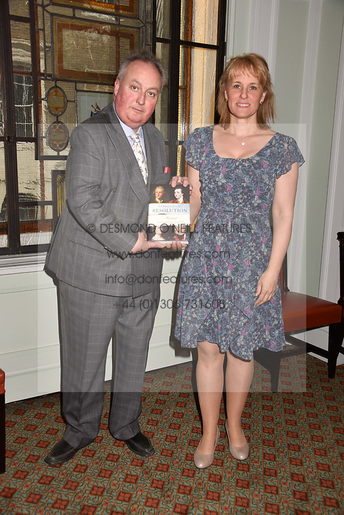 The 11th Duke of Rutland and Emma Ellis at a party to celebrate the publication of Resolution by The Duke of Rutland and Emma Ellis held at Trinity House, Tower Hill, London England. 10 April 2017.