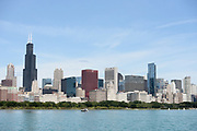 The Chicago Skyline along Lake Michigan in Chicago, Illinois.<br /> Photo by Mark Black