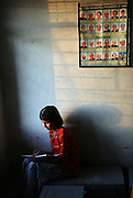 Vidhyashree Doomani, 14, studies in the girls' hostel at the Vimochana School in Malabad, India.  The school was the first residential school for the children of Devadasis and was founded in 1990 to break the cycle of the Devadasi system.  Because the belief is that all female children of Devadasis should themselves become Devadasis, the school was created to remove the children from the culture in which this practice took place and instead offer them an education.  All students receive free tuition, books, uniforms, food and medical care. While Doomani's mother is a Devadasi, Vidhyashree hopes to become a teacher after graduation.