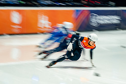 Selma Poutsma of Netherlands in action on 500 meter during ISU World Short Track speed skating Championships on March 05, 2021 in Dordrecht