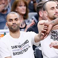 02 April 2017: San Antonio Spurs guard Tony Parker (9) is seen on there bench next to San Antonio Spurs guard Manu Ginobili (20) during the San Antonio Spurs 109-103 victory over the Utah Jazz, at the AT&T Center, San Antonio, Texas, USA.