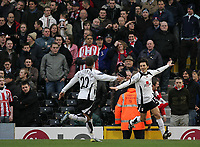 Photo: Lee Earle.<br /> Fulham v Stoke City. The FA Cup. 27/01/2007.Fulham's Vincenzo Montella (R) celebrates in front of the away fans after scoring the opening goal.