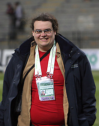 Journalist of Radio Slovenia Luka Petric at the 8th day qualification game of 2010 FIFA WORLD CUP SOUTH AFRICA in Group 3 between Slovenia and Czech Republic at Stadion Ljudski vrt, on March 28, 2008, in Maribor, Slovenia. Slovenia vs Czech Republic 0 : 0. (Photo by Vid Ponikvar / Sportida)