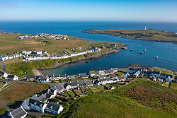 Aerial view of village of Portnahaven (near) and Port Weymss on Rhinns of Islay on Islay , Inner Hebrides, Scotland UK