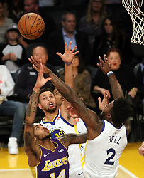 November 29, 2017 - Los Angeles, California, U.S - Brandon Ingram #14 of the Los Angeles Lakers battles for the rebound with Jordan Bell #2 and Stephen Curry #30 of the Golden State Warriors during their game on Wednesday November 29, 2017 at the Staples Center in Los Angeles, California. Lakers lose to Warriors, 127-123. (Credit Image: © Prensa Internacional via ZUMA Wire)