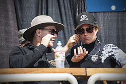September 12, 2017 - Tyler Wright of Australia going over heat strategy with her coach at the Swatch Pro at Trestles..Swatch Pro 2017, California, USA - 12 Sep 2017 (Credit Image: © Rex Shutterstock via ZUMA Press)