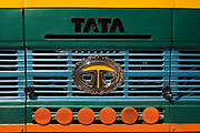 The colourful front of an Indian Tata truck, 18th October 2009, Himachal Pradesh, India. The region of Spiti and Kinnaur is a remote and tribal area of the Indian Himalayas near the Tibetan border.