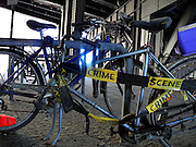 Berlin, GERMANY. General Views,  GV's.  Street Life, Crime Scene, Bicycle theft of Wheels,  May Day 2011.  Saturday  01/05/2011 [Mandatory Credit; Peter Spurrier/Intersport-images]. Street Photos
