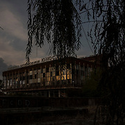 Donetsk Concert Hall, damaged by the shockwave from a missile launched on chemical plant by the Ukrainian army.
