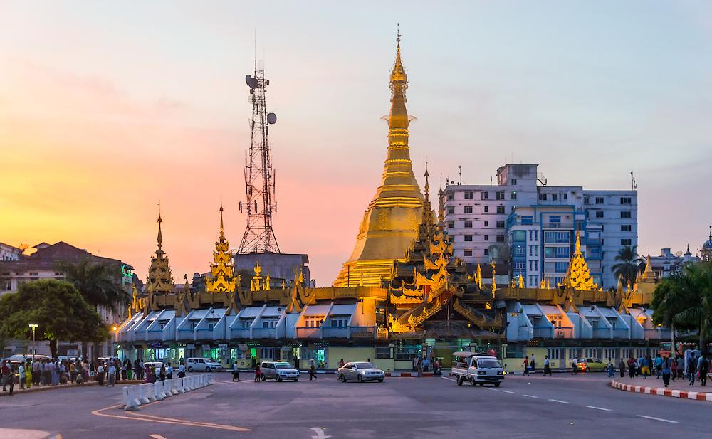YANGON, MYANMAR - CIRCA DECEMBER 2013: View of the Maha Bandula Road and the Sule Pagoda in Yangon.