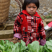 A young visitor to the Lung Khau Nhin Market. Vietnam. Lung Khau Nhin Market is rural tribal market hiding itself amongst the mountains and forests of the far north Vietnam about 10 km from the border with China. The market plays an important role for the local ethnic people, Flower Hmong, Black Zao, Zay, and very small ethnic groups  Pa Zi, Tou Zi, Tou Lao. Tourist trips to the market run from Sapa and Lao Cai every week. Lung Khau Nhin Market, Vietnam.15th March 2012. Photo Tim Clayton