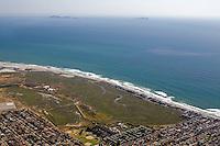 Aerial view of the Tijuana River National Estuarine Reserve looking southwest toward the Coronado Islands off the coast of Mexico.