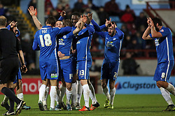 Conor Washington of Peterborough United (number 14) celebrates scoring his second goal with team-mates - 28/11/2015 - FOOTBALL - Glanford Park - Scunthorpe, England - Scunthorpe United v Peterborough United - Sky Bet League One