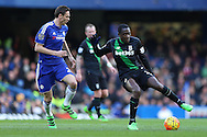 Gianelli Imbula of Stoke City ® looks to go past  Nemanja Matic of Chelsea . Barclays Premier league match, Chelsea v Stoke city at Stamford Bridge in London on Saturday 5th March 2016.<br /> pic by John Patrick Fletcher, Andrew Orchard sports photography.