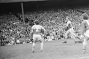 Players waiting for the ball to come towards them during the All Ireland Senior Hurling Final, Cork v Wexford in Croke Park on the 5th September 1976. Cork 2-21, Wexford 4-11.