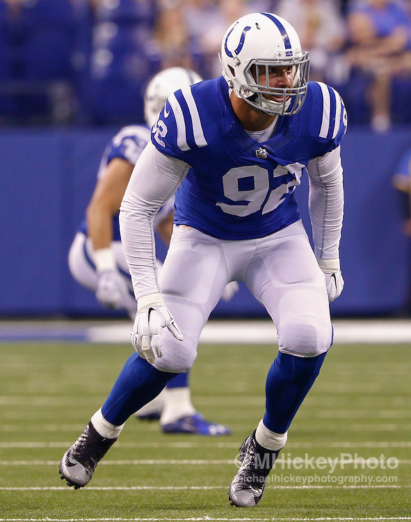 INDIANAPOLIS, IN - SEPTEMBER 3: Bjoern Werner #92 of the Indianapolis Colts is seen on the field during the game against the Cincinnati Bengals at Lucas Oil Stadium on September 3, 2015 in Indianapolis, Indiana. (Photo by Michael Hickey/Getty Images) *** Local Caption *** Bjoern Werner