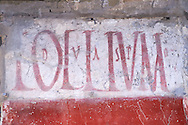 Graffitti on buildings along the Via del Abbondante, Pompeii. .<br /> <br /> If you prefer to buy from our ALAMY PHOTO LIBRARY  Collection visit : https://www.alamy.com/portfolio/paul-williams-funkystock/pompeii.html<br /> Visit our CLASSICAL WORLD HISTORIC SITES PHOTO COLLECTIONS for more photos to buy as buy as wall art prints https://funkystock.photoshelter.com/gallery-collection/Classical-Era-Historic-Sites-Archaeological-Sites-Pictures-Images/C0000g4bSGiDL9rw