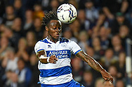 QPR defender Moses Odubajo (22) heads the ball during the EFL Sky Bet Championship match between West Bromwich Albion and Queens Park Rangers at The Hawthorns, West Bromwich, England on 24 September 2021.
