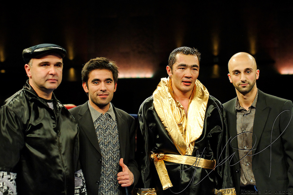 Beibut Shumenov with his team after his unanimous decision victory over Epifanio Mendoza at the Meidenbauer Center in Bellevue, WA on December 13, 2008.