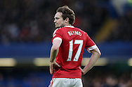 Daley Blind of Manchester United looks on. Barclays Premier league match, Chelsea v Manchester Utd at Stamford Bridge in London on Sunday 7th February 2016.<br /> pic by John Patrick Fletcher, Andrew Orchard sports photography.
