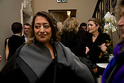 ZAHA HADID, Zaha Hadid and Triflow Concepts host the launch of a pioneering new kitchen and bathroom lifestyle. 46 Portland Place. London. 28 January 2009 *** Local Caption *** -DO NOT ARCHIVE-© Copyright Photograph by Dafydd Jones. 248 Clapham Rd. London SW9 0PZ. Tel 0207 820 0771. www.dafjones.com.<br /> ZAHA HADID, Zaha Hadid and Triflow Concepts host the launch of a pioneering new kitchen and bathroom lifestyle. 46 Portland Place. London. 28 January 2009